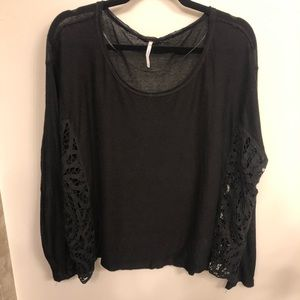 Free people long sleeve black side lace/crochet